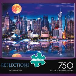 Reflections: New York City Supermoon Cities Jigsaw Puzzle