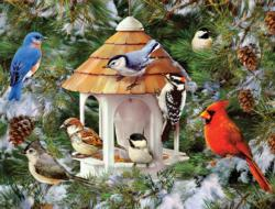 Wild Birds and Evergreens Snow Jigsaw Puzzle