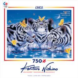 Curiosity (Aqua Shimmer) Tigers Jigsaw Puzzle