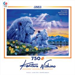 Happiest Moment (Aqua Shimmer) Lions Jigsaw Puzzle