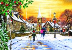 Village Streets Winter Jigsaw Puzzle