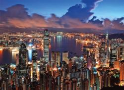 Hong Kong Night Scene Skyline / Cityscape Jigsaw Puzzle