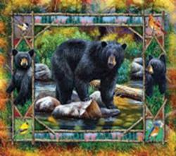 Black Bear and Cubs Nature Jigsaw Puzzle