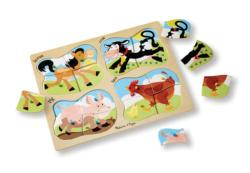 4-in-1 Peg Puzzle - Farm Cows Wooden Puzzle