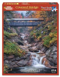 Covered Bridge Waterfalls Jigsaw Puzzle