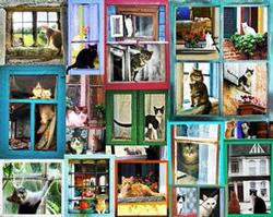 Window Cats Collage Jigsaw Puzzle