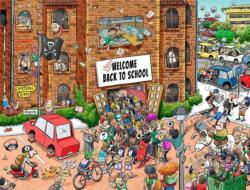 Back to School Chaos Cartoons Jigsaw Puzzle