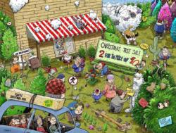 Chaos at Christmas Tree Farm Christmas Jigsaw Puzzle