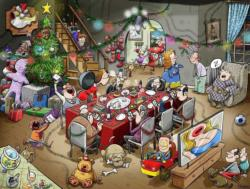 Chaos at Christmas Lunch Christmas Jigsaw Puzzle