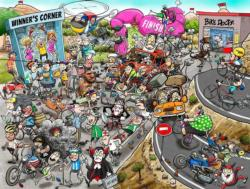 Chaos at the Cycling Tournament Sports Jigsaw Puzzle