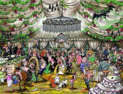 Chaos at the Wedding Reception Cartoons Jigsaw Puzzle