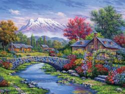 Castles by the River  (Arturo Zarraga) Cottage / Cabin Jigsaw Puzzle