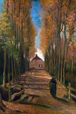 Avenue of Poplars in Autumn by Van Gogh People