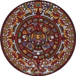 Aztec Calendar Cultural Art Round Jigsaw Puzzle