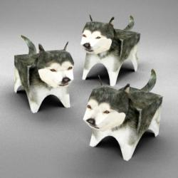 Alaskan Malamute Family (Paper Model) Dogs Jigsaw Puzzle