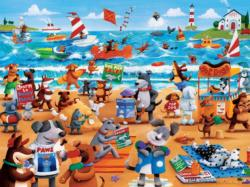 Dogs Beach (Paws & Claws) Cartoons Large Piece