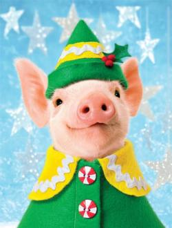Elf Piggie (Holiday Avanti) Christmas Jigsaw Puzzle