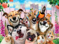 In the Backyard (Selfies) Dogs Jigsaw Puzzle