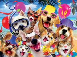 Beach Party (Selfies) Dogs Jigsaw Puzzle