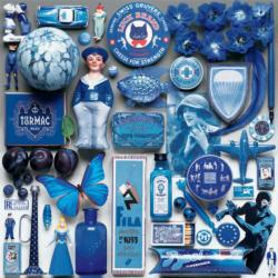 Blue Everyday Objects Jigsaw Puzzle