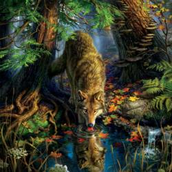 Wolf (Mark Fredrickson Water's Edge) Wolves Jigsaw Puzzle
