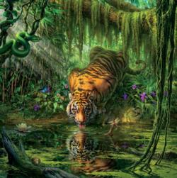 Tiger (Mark Fredrickson Water's Edge) Tigers Jigsaw Puzzle