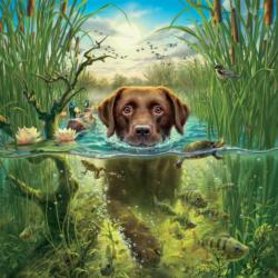 Labrador (Mark Fredrickson Water's Edge) Dogs Jigsaw Puzzle