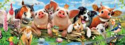 Barnyard Antics Farm Animals Panoramic Puzzle