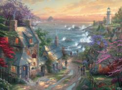The Village Lighthouse (Thomas Kinkade 1000 Piece) Sunrise/Sunset Jigsaw Puzzle
