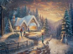 Country Christmas Homecoming Snow Jigsaw Puzzle