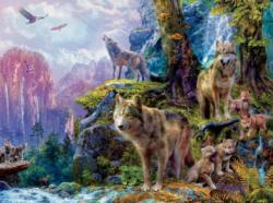 Wolves of National Park (Wolves) Mountains Jigsaw Puzzle