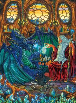 Old Friends at Play (Dragons) Fantasy Jigsaw Puzzle