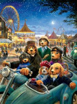 Night at the Carnival (Lonely Dog) Motorcycles Jigsaw Puzzle