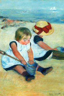 Children Playing on Beach by Mary Cassatt Fine Art