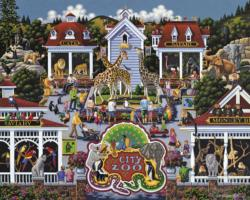 Day at the Zoo Folk Art Jigsaw Puzzle