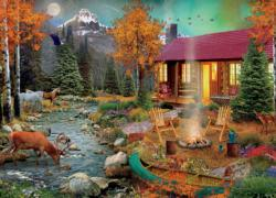 By The RIver Cottage / Cabin Jigsaw Puzzle