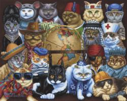 Cats Around The World Americana & Folk Art Jigsaw Puzzle