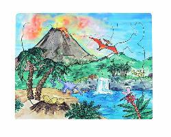 Dinosaur Volcano Cartoons Wooden Jigsaw Puzzle