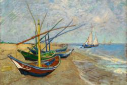 Fishing Boats on the Beach by Van Gogh People