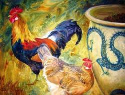 Cock, Hen & Dragon - Scratch and Dent Chickens & Roosters Jigsaw Puzzle