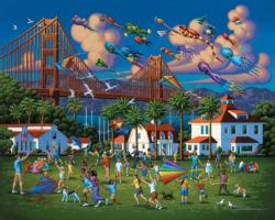 Golden Gate Bridge Folk Art Jigsaw Puzzle