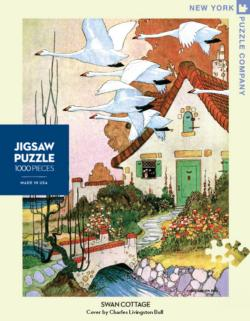 Swan Cottage (House & Garden) Cottage / Cabin Jigsaw Puzzle