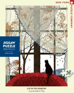 Cat in the Window Fall Jigsaw Puzzle