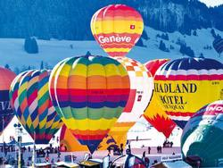 Hot Air Balloons, Switzerland Snow Jigsaw Puzzle
