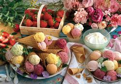 Ice Cream with Strawberries and Roses (Colorluxe) Picnic Jigsaw Puzzle