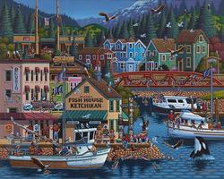 Ketchikan, Alaska Folk Art Jigsaw Puzzle
