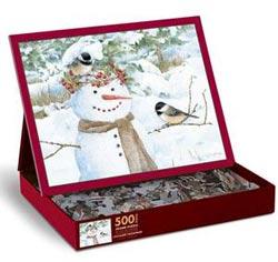 Chickadee Snowman Snowman Jigsaw Puzzle