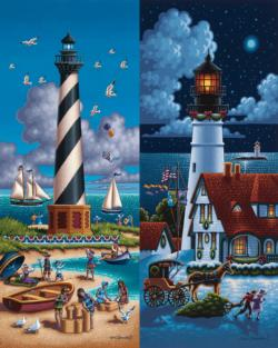 Lighthouses North Folk Art Jigsaw Puzzle