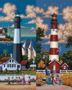 Lighthouses South Folk Art Jigsaw Puzzle