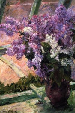 Lilacs in the Window by Mary Cassatt Fine Art